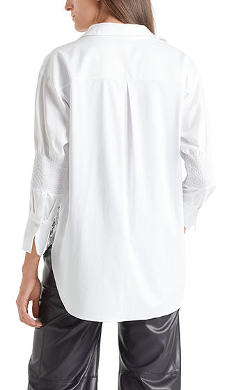 MARC CAIN PRINTED BLOUSE IN SMOCKED DETAIL