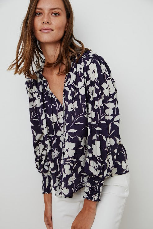 PRINTED COTTON VOILE TOP