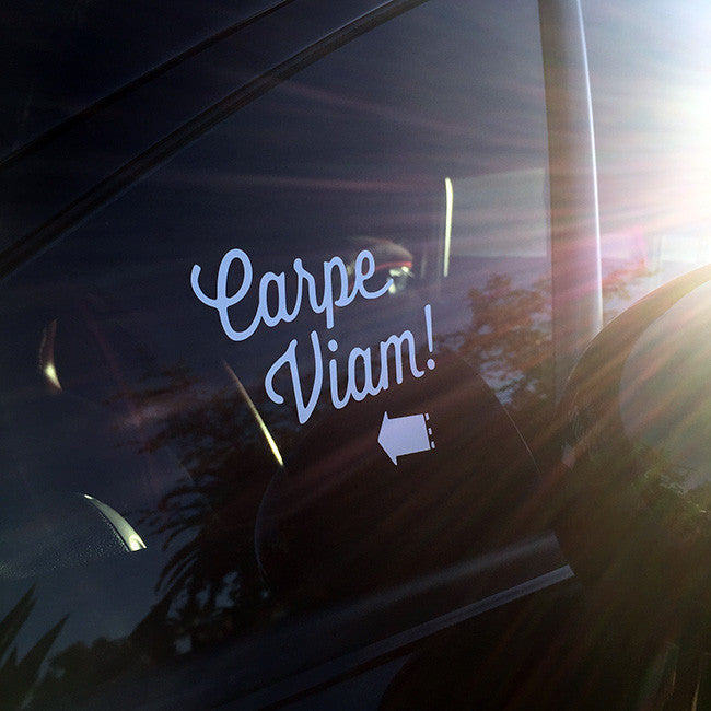 "Carpe Viam ""Seize the Road"" Script Decal"