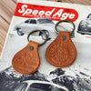 "Handmade Competition Motors ""Circle"" Leather Keychain"