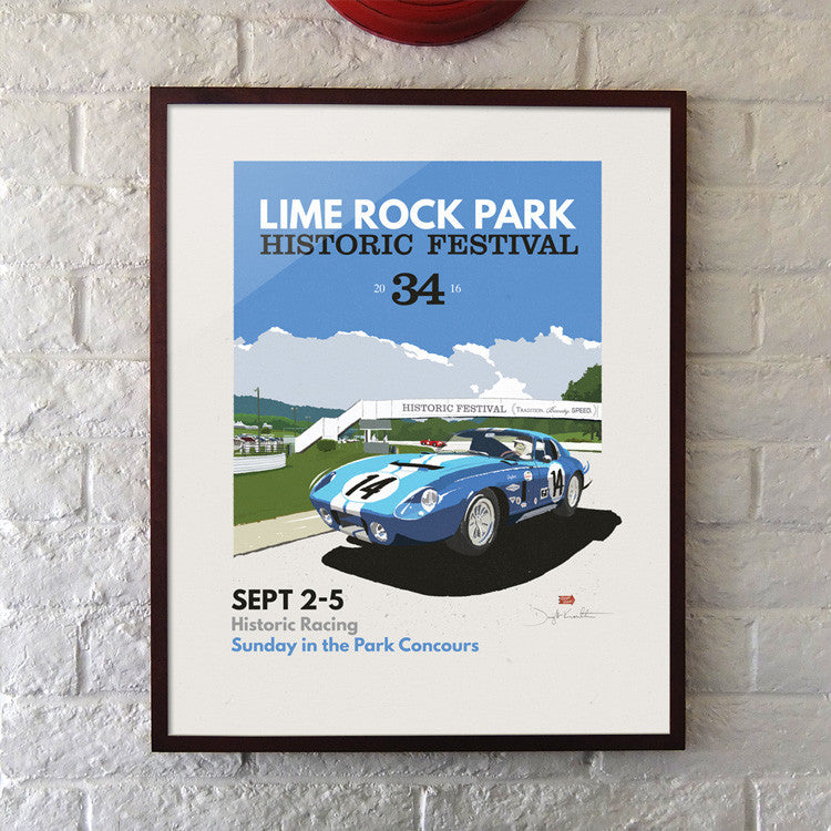 "Official 2016 Lime Rock Historics 24x30"" Giclee Print"
