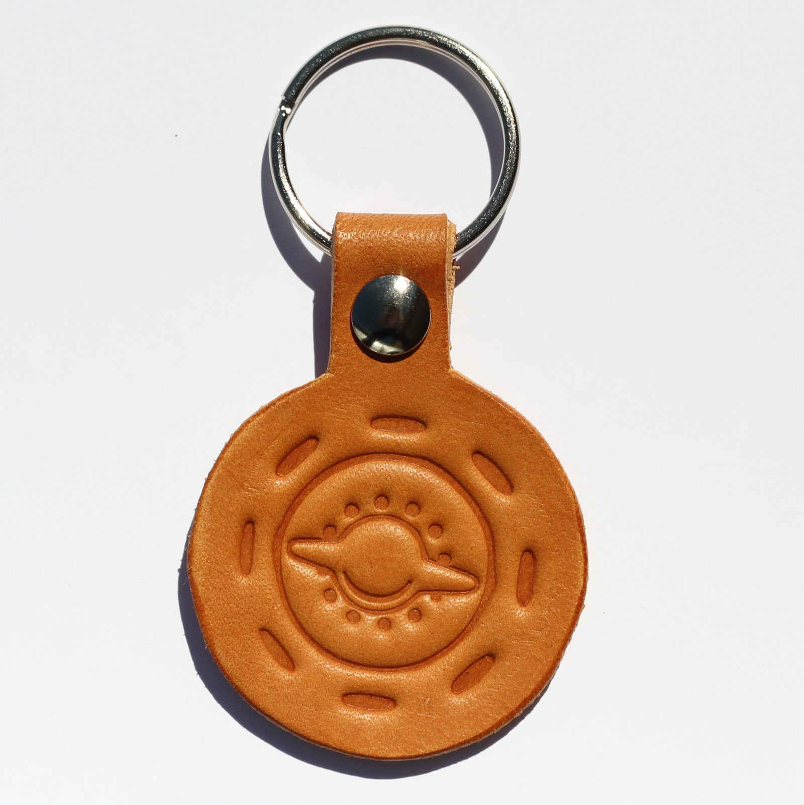 "Handmade ""Rudge"" Wheel Leather Keychain"