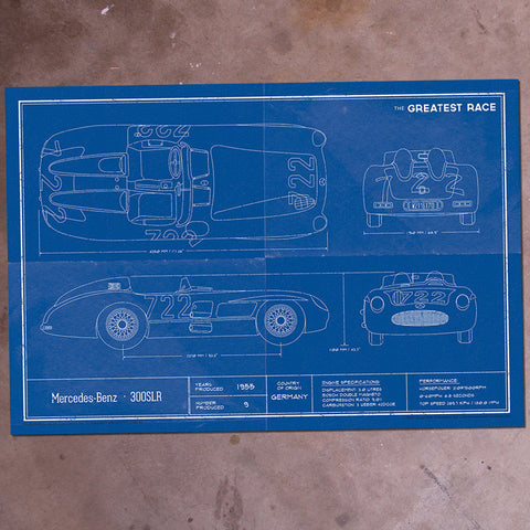 The Greatest Race 300SLR Blueprint 18x24""