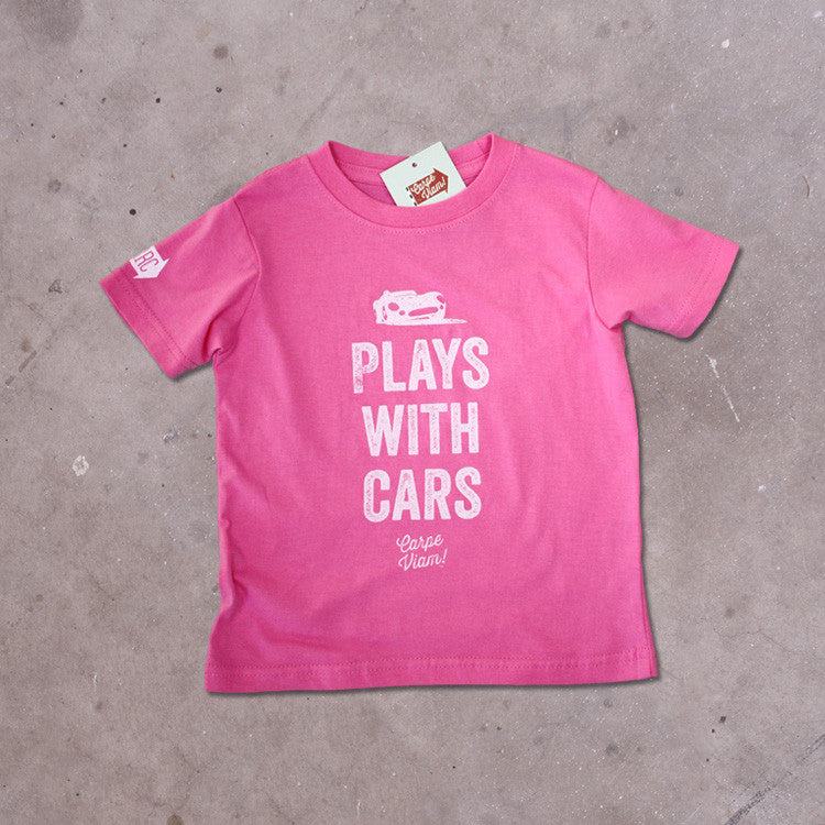 "Toddler Girls ""Plays with Cars"" T-shirt"