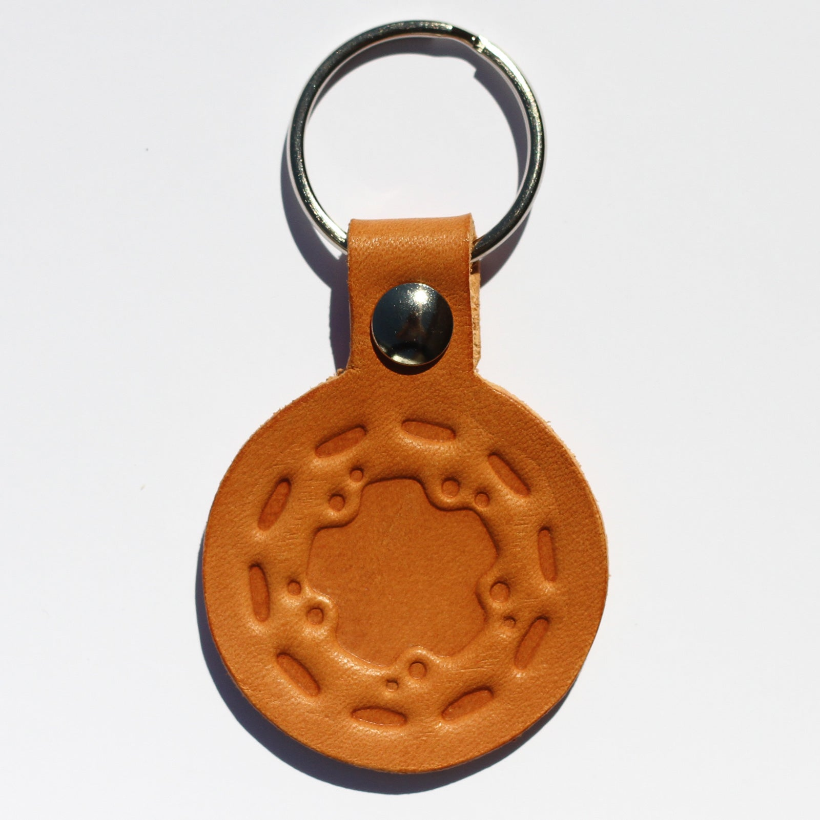 "Handmade ""Wide Five"" Wheel Leather Keychain"
