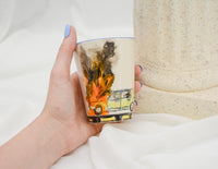 Yellow Volvo on Fire Cup