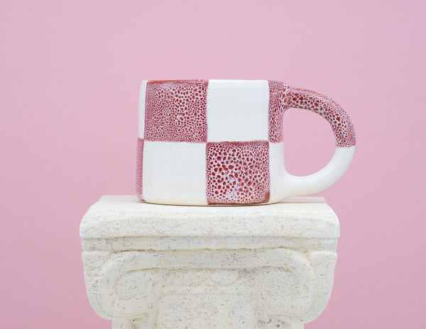 White and Red Oil Spot Mug