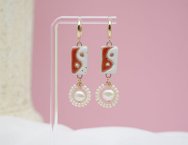 Yin Yang and Pearls Earrings