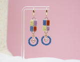 Rainbow Checkered Earrings