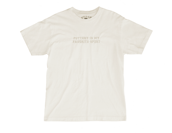 Pottery is my Favorite Sport Embroidered Tee - Ivory