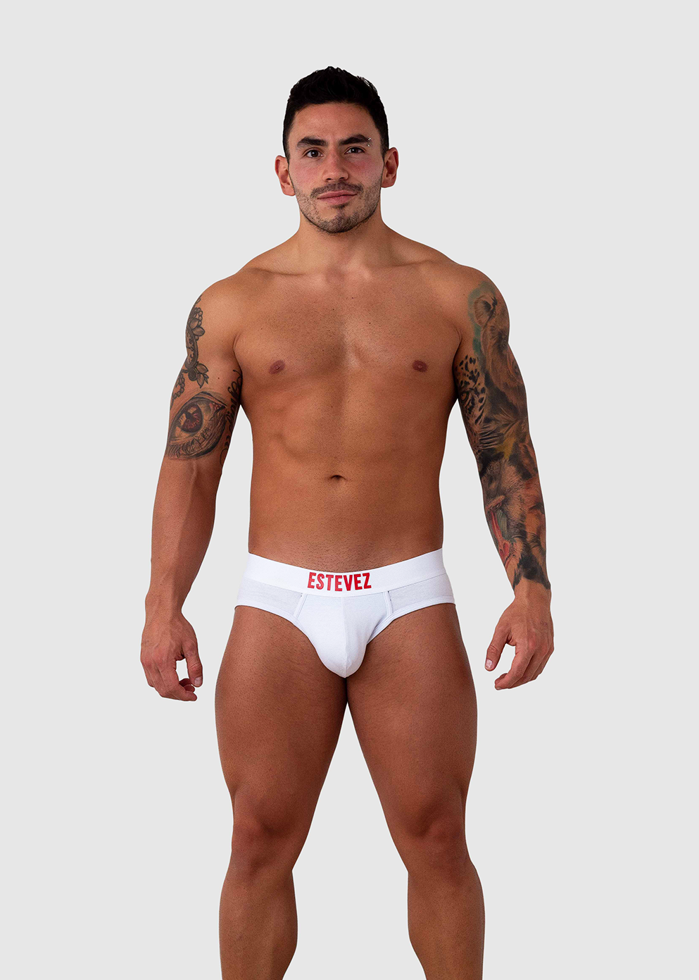 Red Signature White Cotton Brief