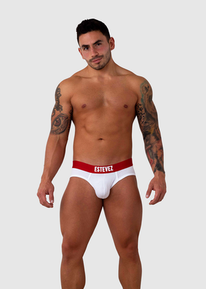 Estevez Red Waist White Cotton Sport Brief