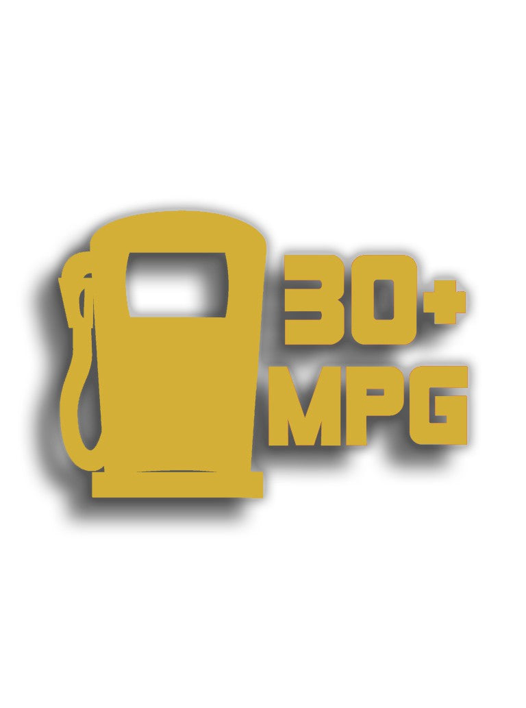 30+ MPG 12x8 cm Sticker