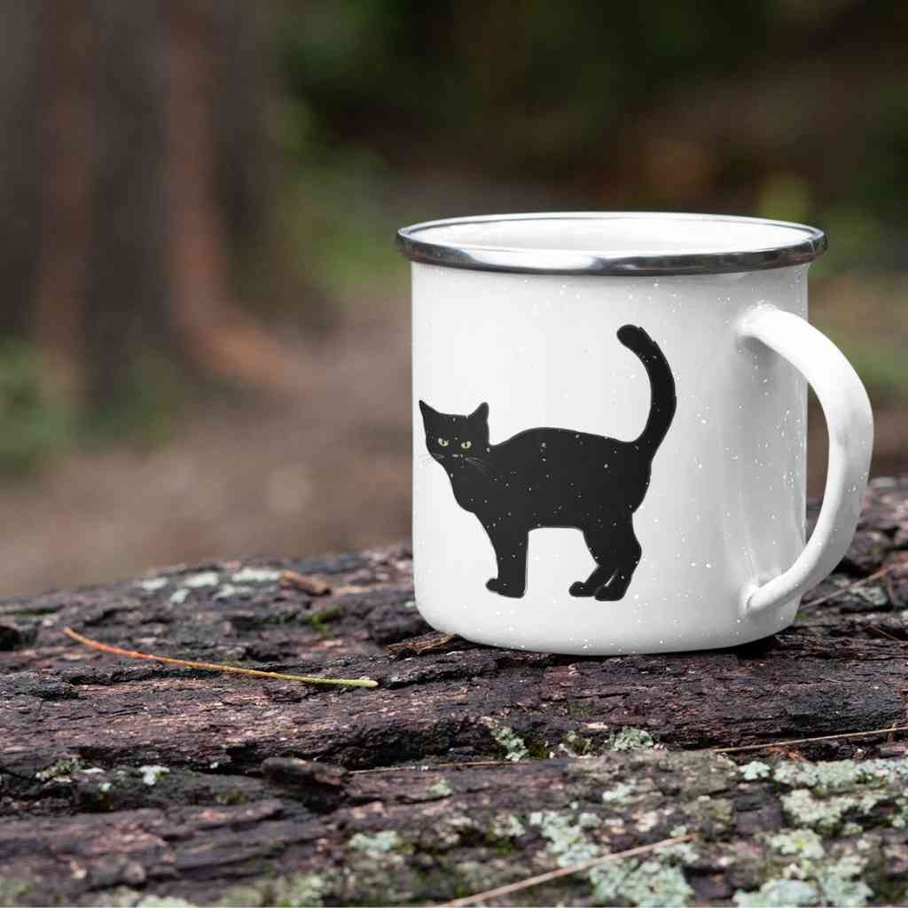 Black Cat Enamel Mug - Happy Meow Meow