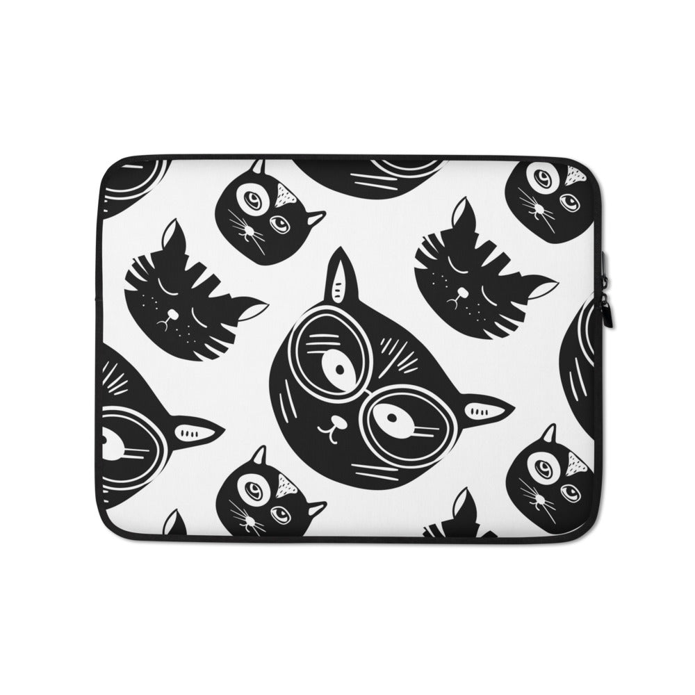 Funky Meow Meows Laptop Sleeve - Happy Meow Meow