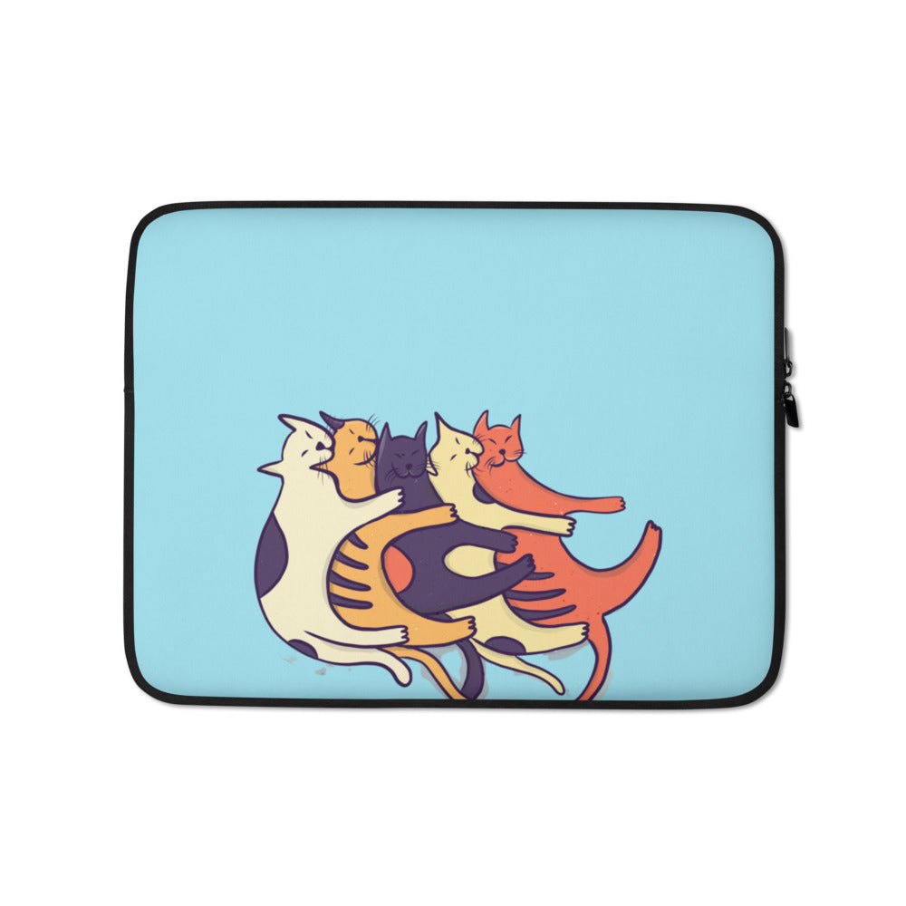 Cuddling Meow Meows Laptop Sleeve - Happy Meow Meow