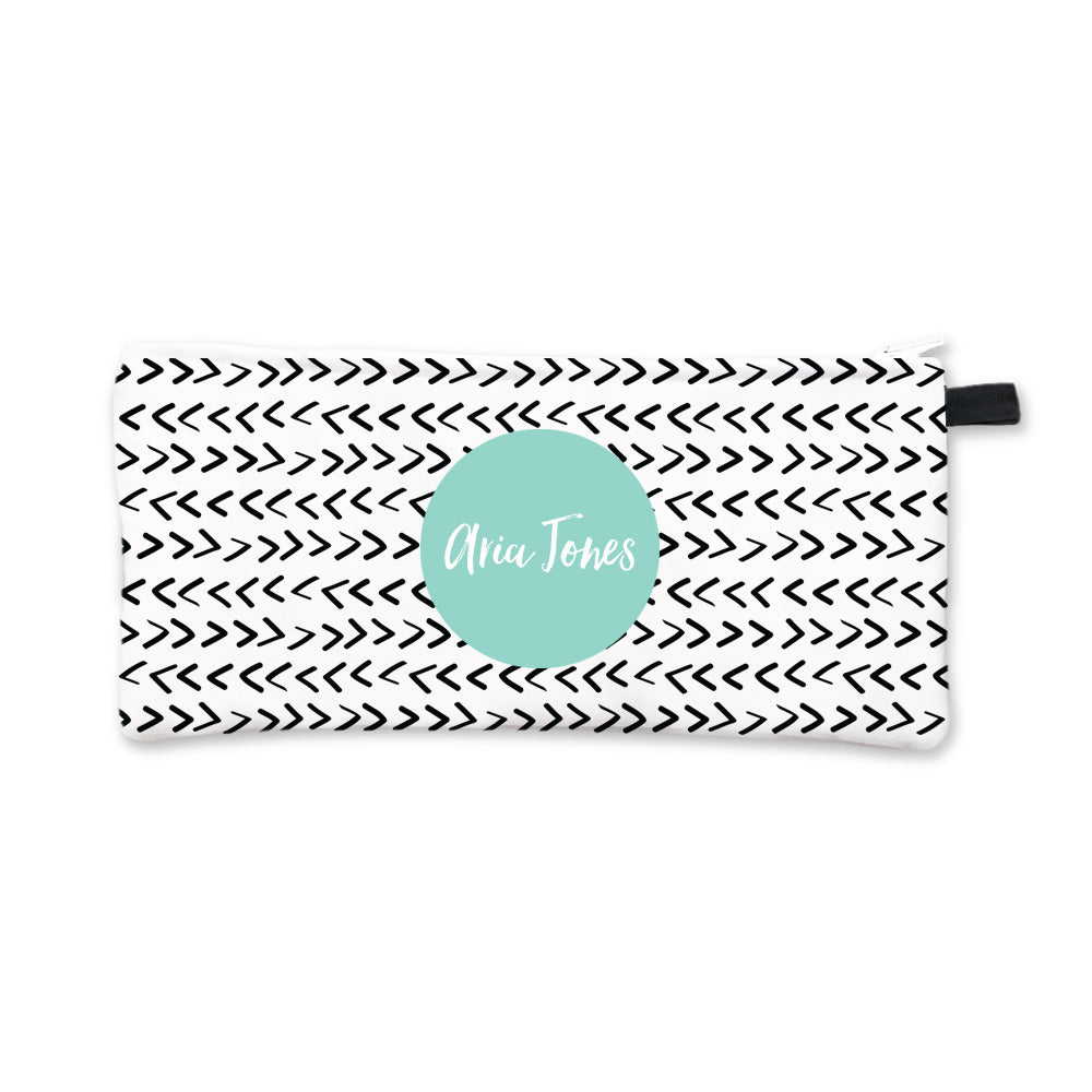 Black Arrows Pencil Case Aqua