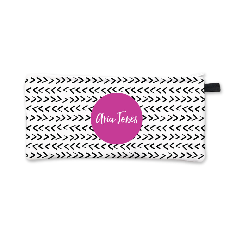 Black Arrows Pencil Case Fuchsia