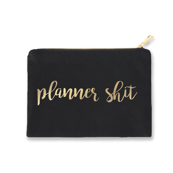 Black Pouch Planner Shit Gold