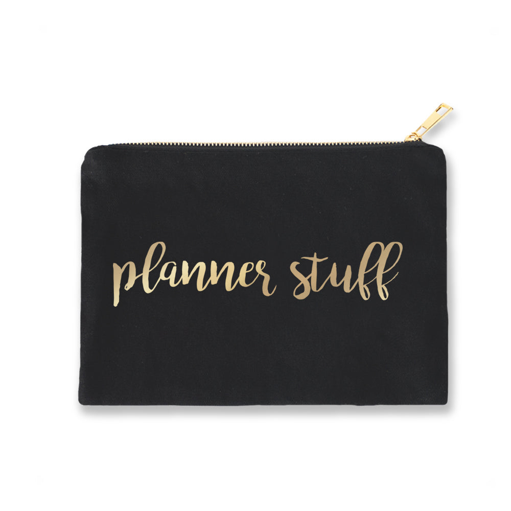 Black Pouch Planner Stuff Gold