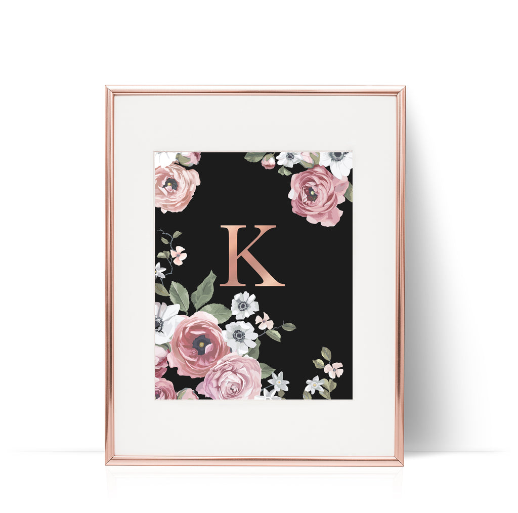 Dark Floral Print Rose Gold Foil