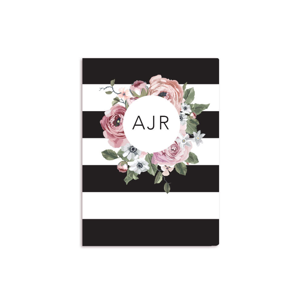 Black and White Stripes Floral Notebook