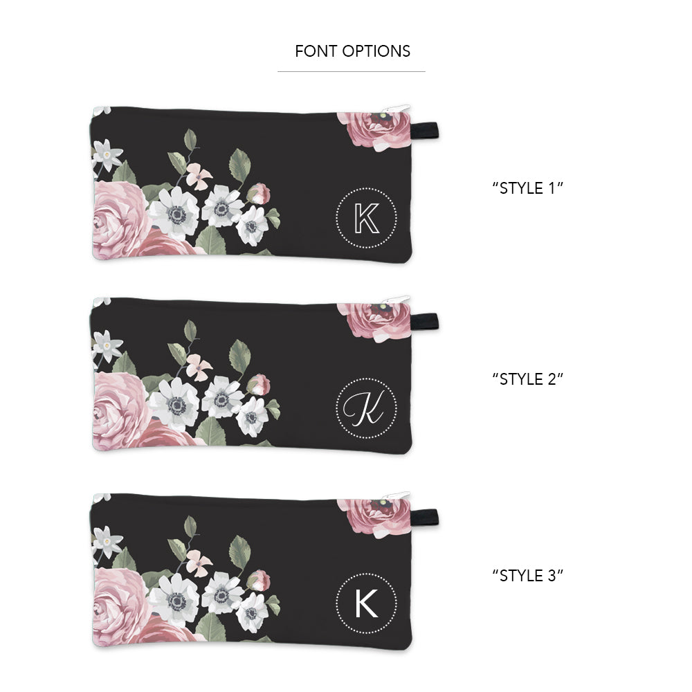 Dark Floral Initial Pencil Case White Fonts