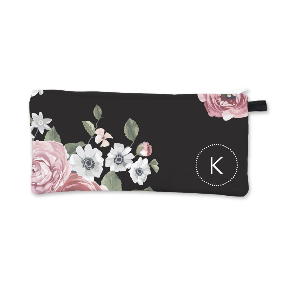 Dark Floral Initial Pencil Case White