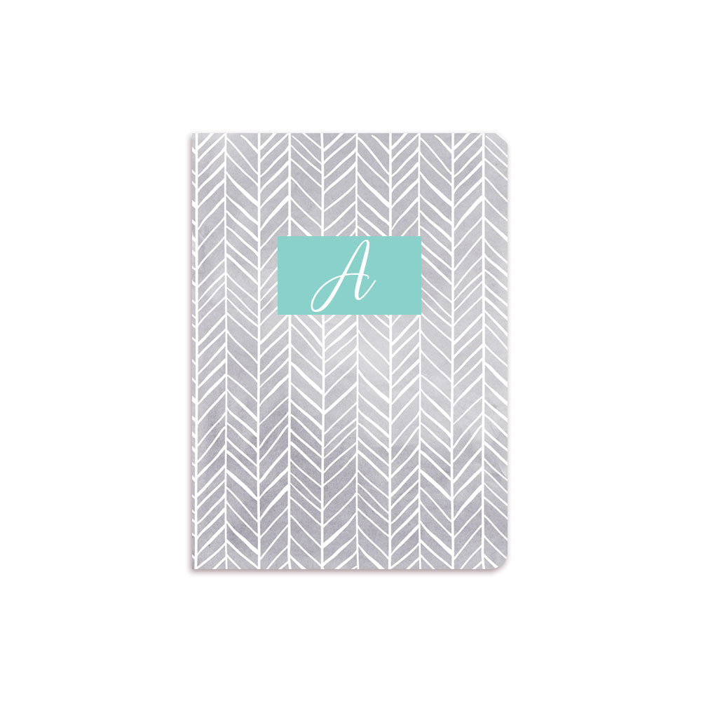 Grey Herring Bone Notebook Aqua