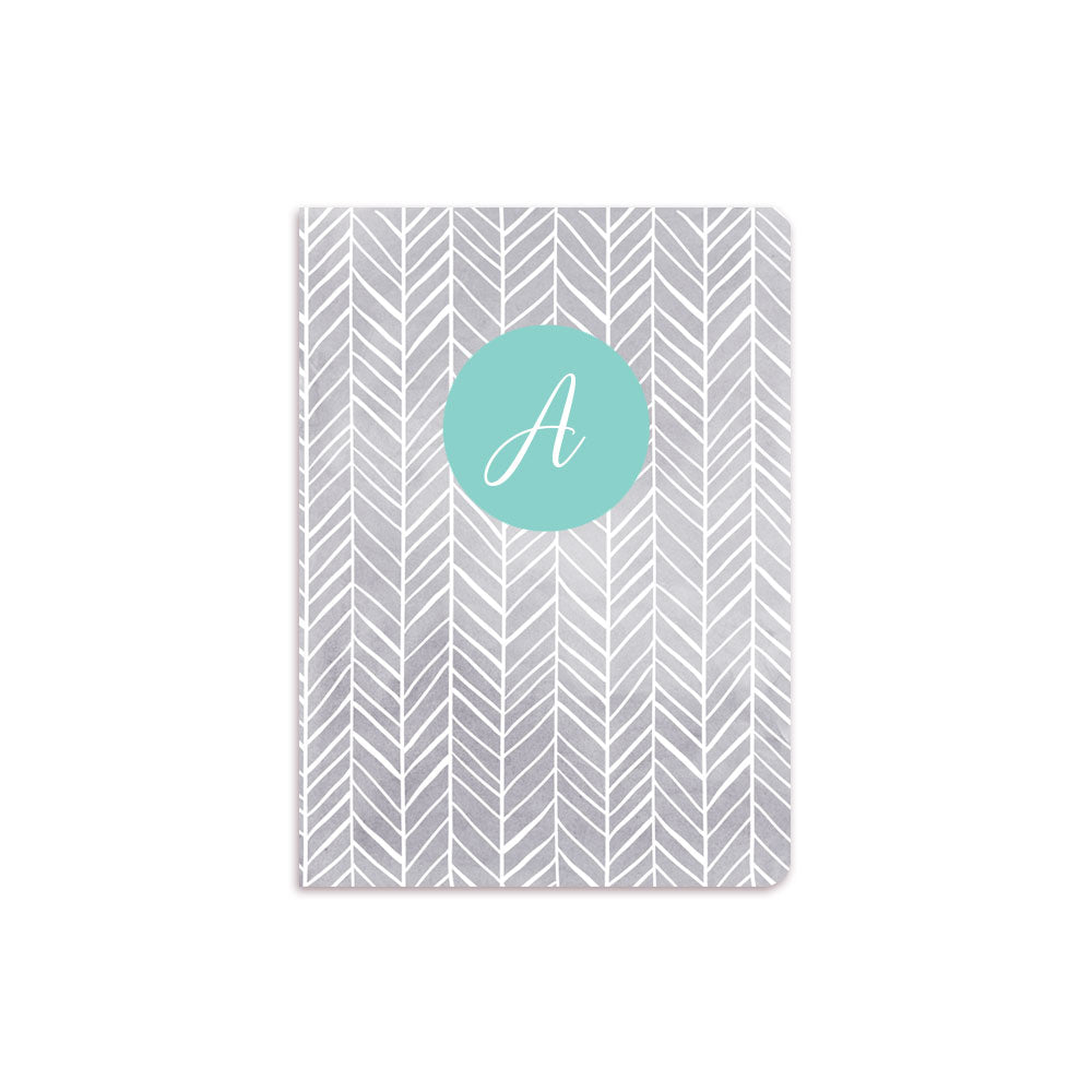 Grey Herring Bone Notebook Aqua Crest