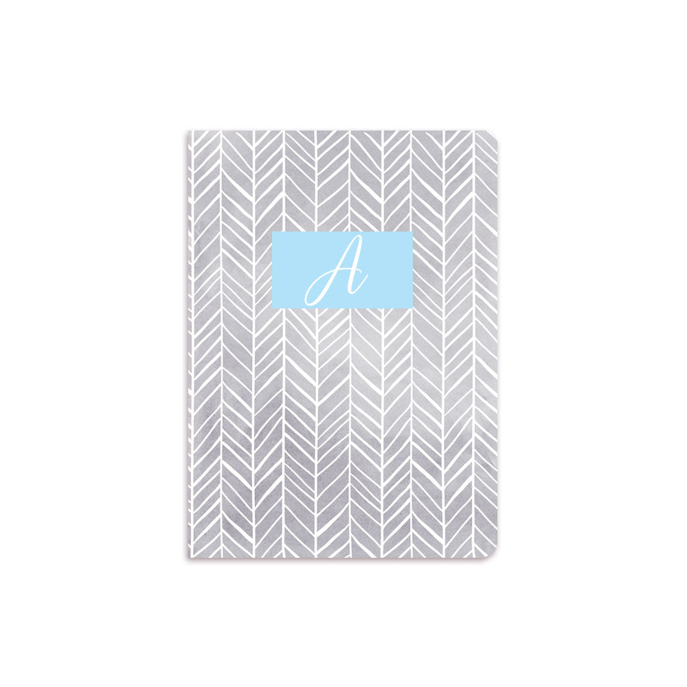 Grey Herring Bone Notebook Blue Box