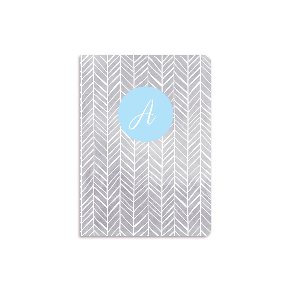 Grey Herring Bone Notebook Blue Crest