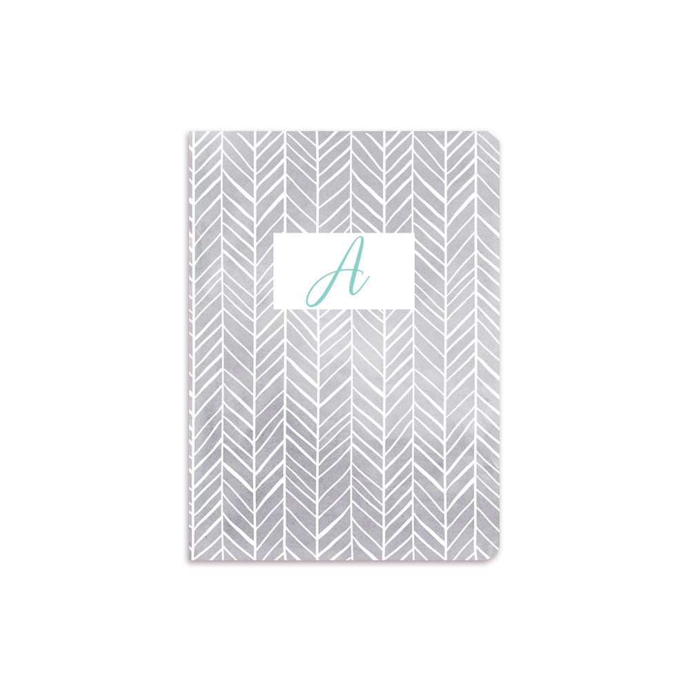 Grey Herring Bone Notebook White Box