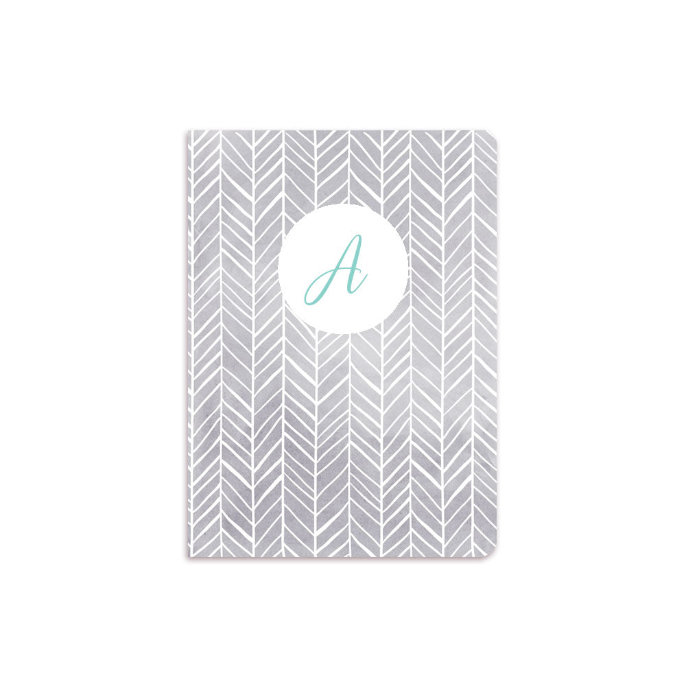 Grey Herring Bone Notebook White Crest