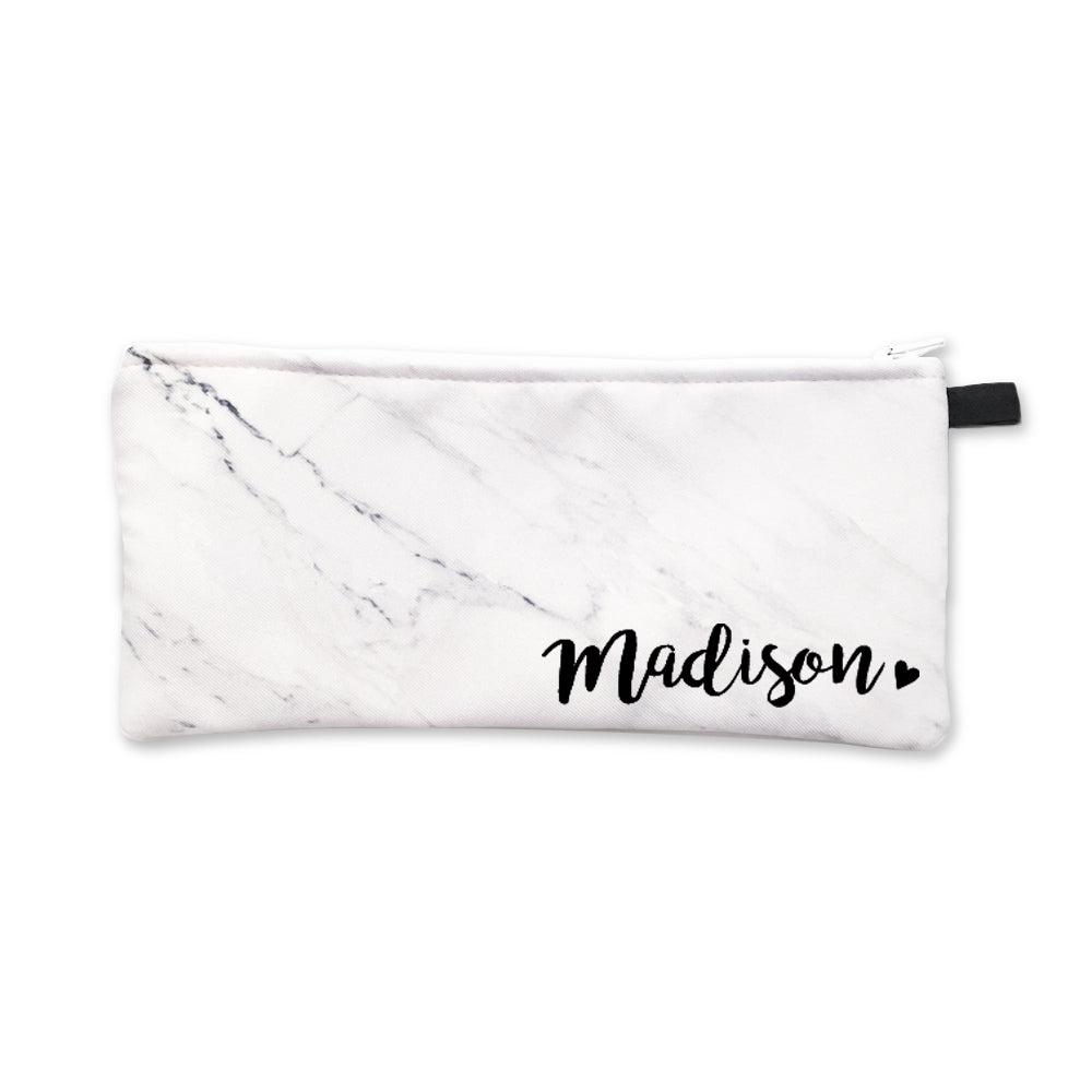 White Marble Corner Name Pencil Case Black