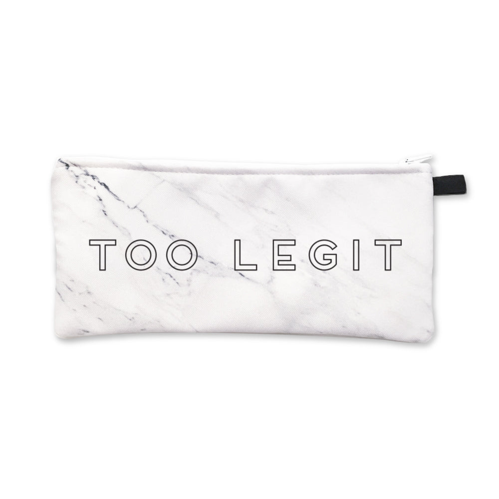 White Marble Too Legit Pencil Case