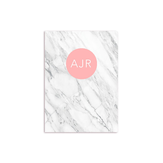 White Marble Notebook Personalised Coral