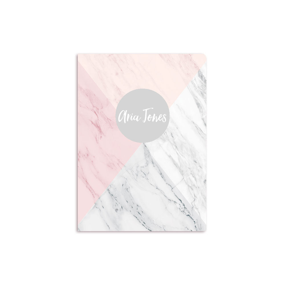 Four Color Marble Notbook Personalised Grey