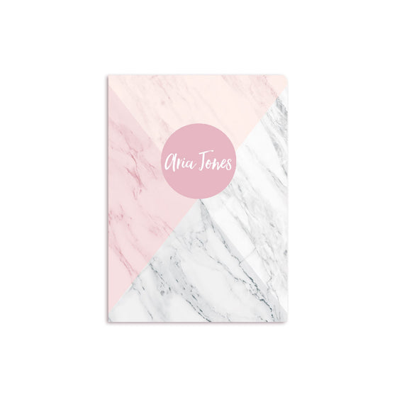 Four Color Marble Notbook Personalised Rose