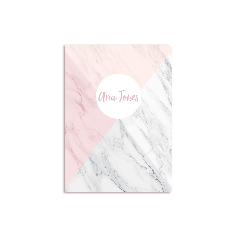 Four Color Marble Notbook Personalised White
