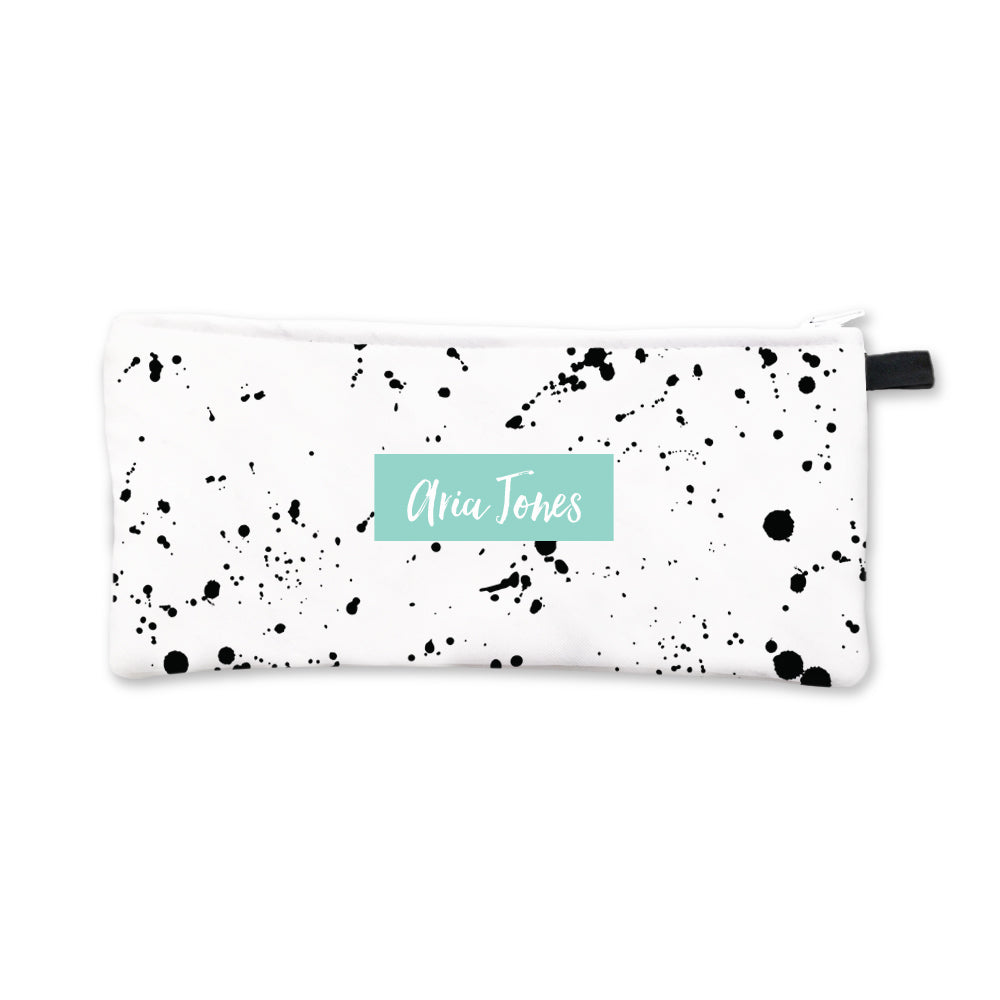 Black Splatter Pencil Case Aqua Box