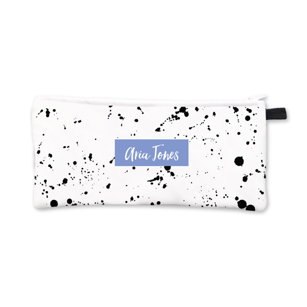 Black Splatter Pencil Case Blue Box