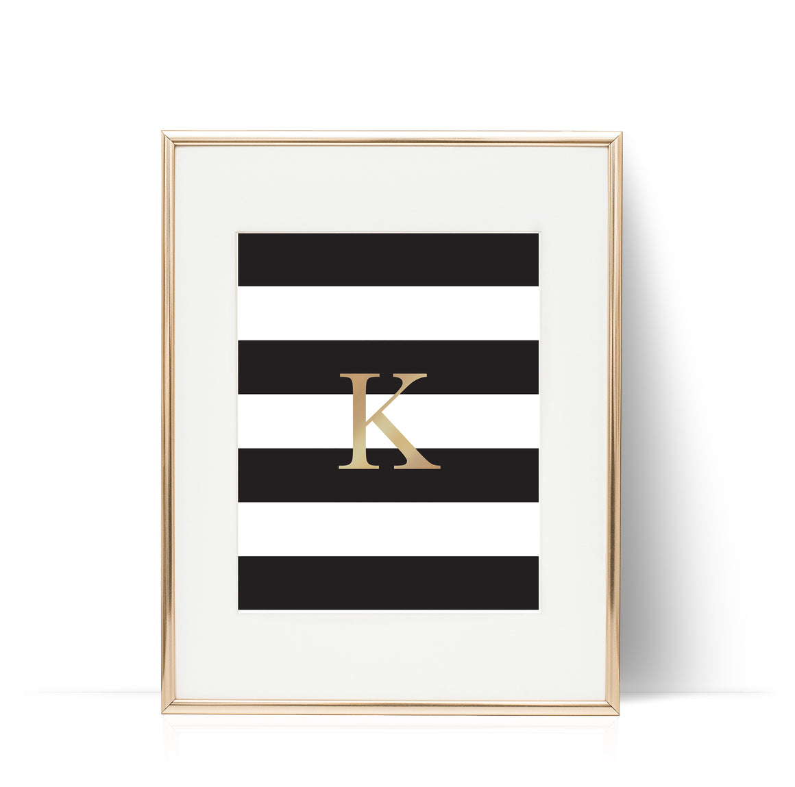 Stripes Letter Print Gold Foil