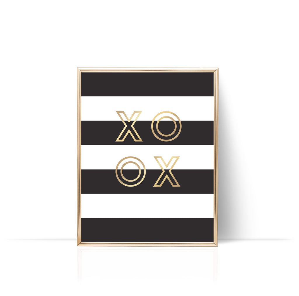 Stripes XO Print Gold Foil