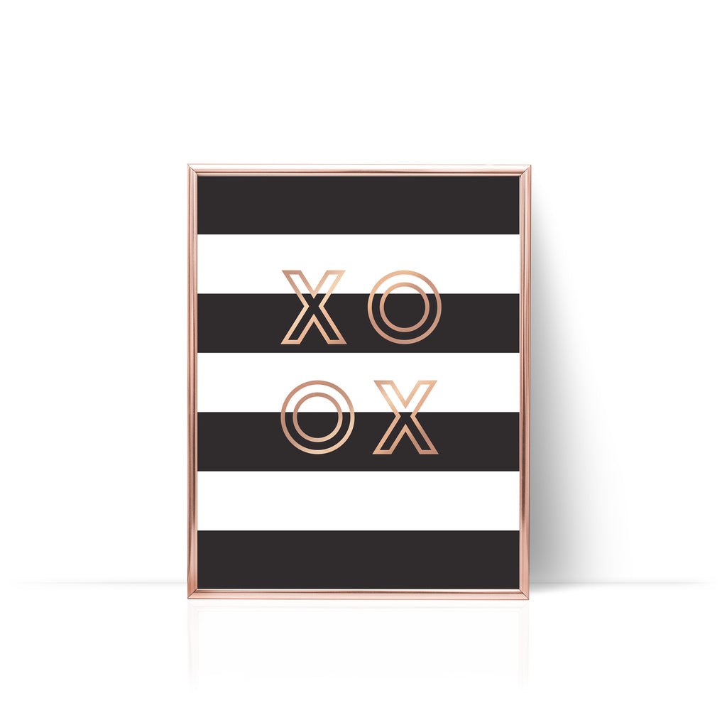 Stripes XO Rose Gold Foil