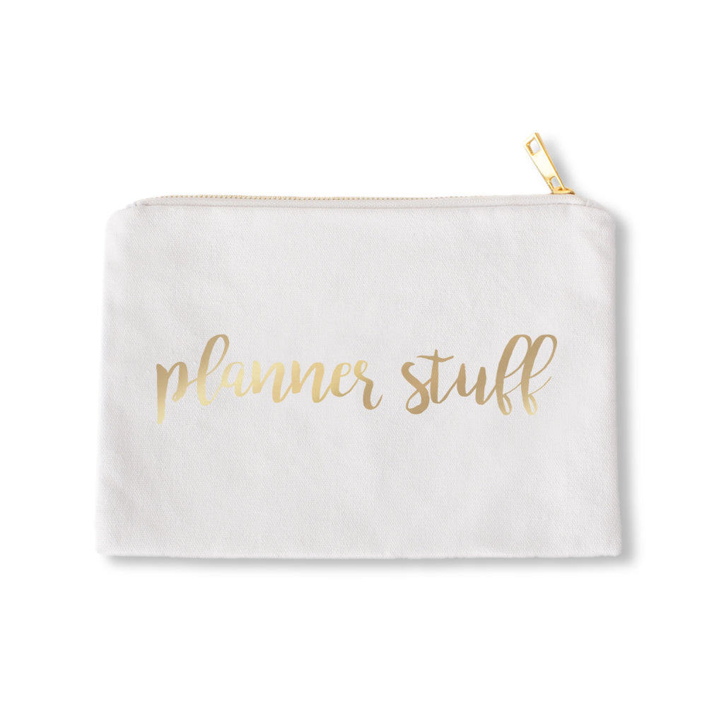 White Pouch Planner Stuff Gold