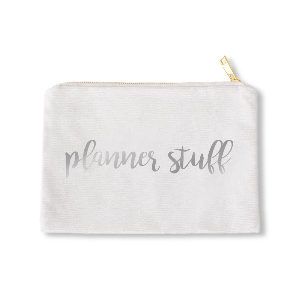 White Pouch Planner Stuff Silver