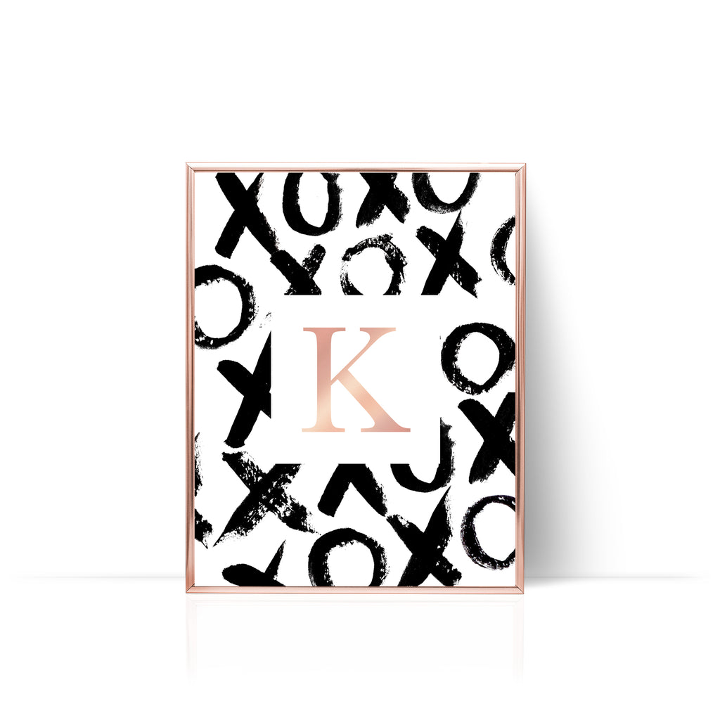 XO Personalized Print Rose Gold Foil