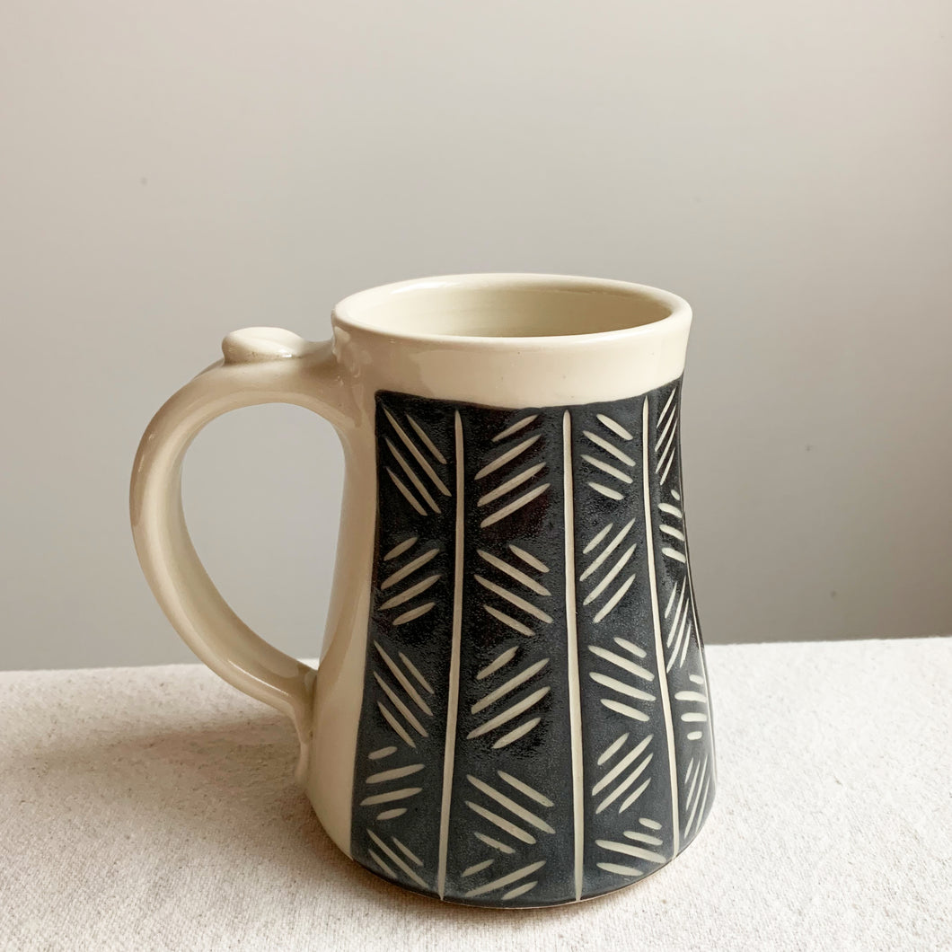 Large Black and White Mug-Crosshatch