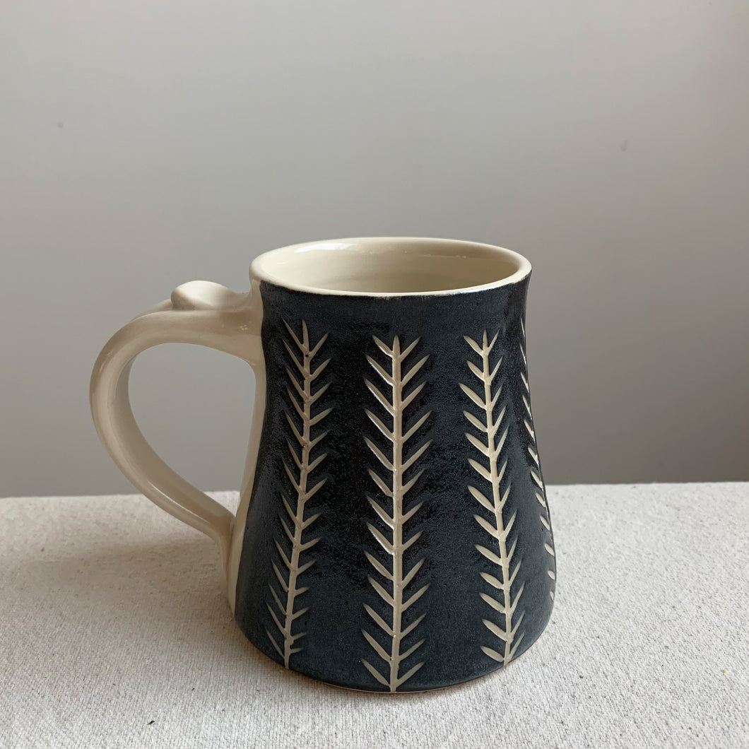 Black and White Mug-Wheat Stalk